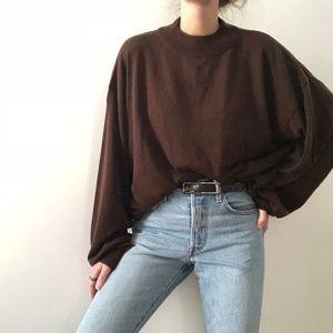 VINTAGE/ oversized dolman mock neck knit